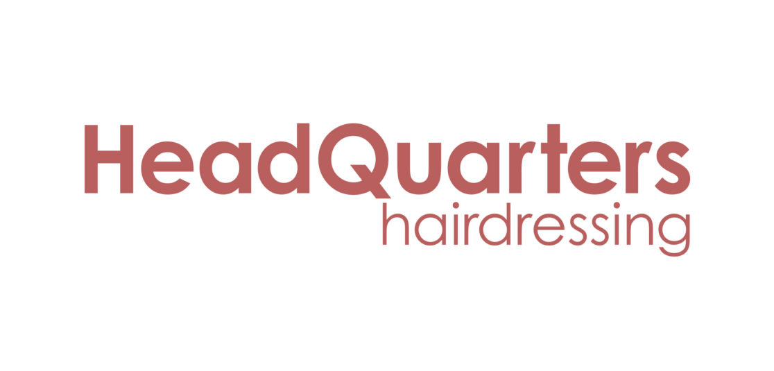 Headquarters hairdressing red text logo
